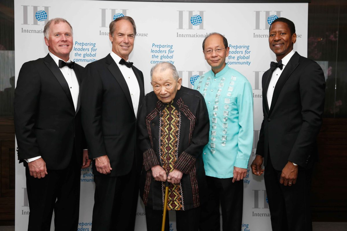 (L-R) I-House Trustee J. Kevin McCarthy; BNY Mellon Chairman and CEO George Hassell; Asian Institute of Management Founder and Chairman Emeritus Washington Z. SyCip; President of Halanna Management Corporation George SyCip; and I-House President and CEO Calvin Sims. (Photo by Brian Ach/Getty Images for International House)